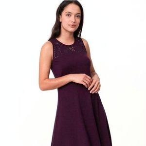 Ann Taylor LOFT Cutout Swingy Flare Dress Purple